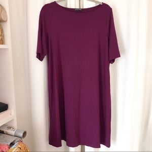 Eileen Fisher Viscose Spandex Purple Plum Dress